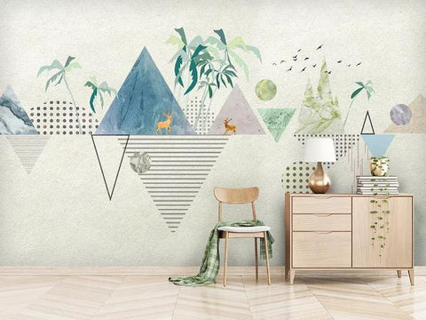 3D Geometric Triangle Circle Elk Trees Bird Wall Mural Wallpaper 170