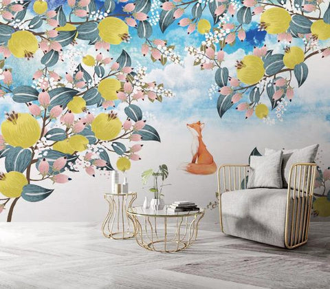 3D Fruit Tree Fox Wall Mural Wallpaper 339