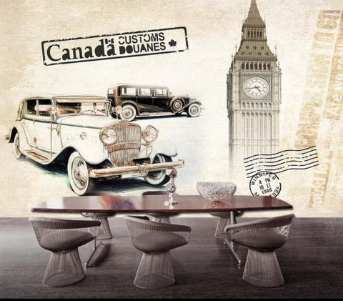 3D British Style Classic Cars Wall Mural Wallpaper 380