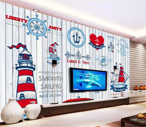 3D Blue Sailing Lighthouse Wall Mural Wallpaper 369
