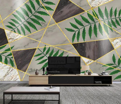 3D Geometry Graphical Marble Leaves Wall Mural Wallpape  377
