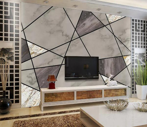 3D Geometry Graphical Marble Wall Mural Wallpape  376