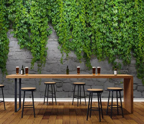 3D Green Plant Wall Mural Wallpape  406