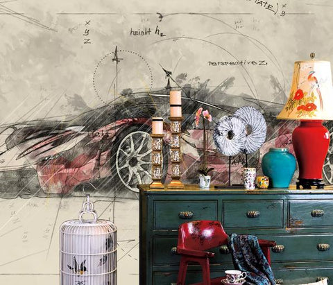 3D Hand drawing Car Wall Mural Wallpape 415