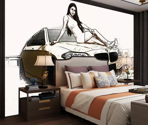 3D Hand drawing Car Wall Mural Wallpape 416