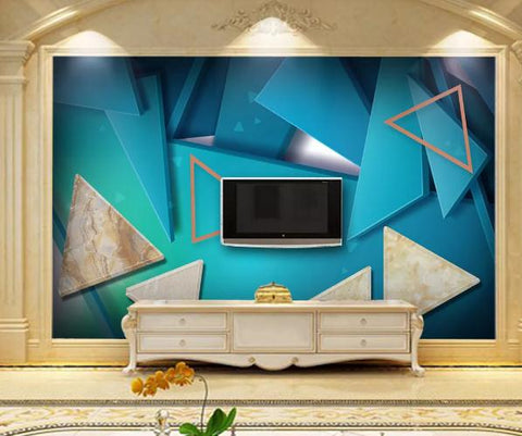 3D Geometry Marble Decorative Effect Wall Mural Wallpape 25