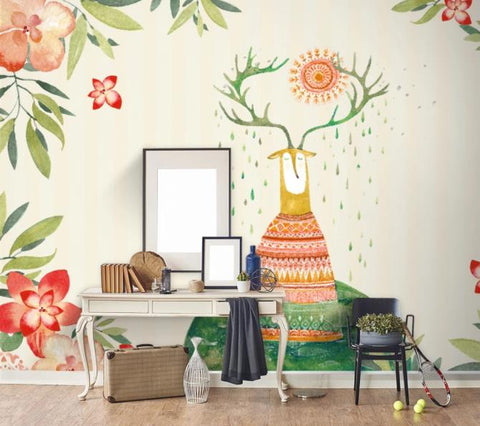 3D Cartoon Deer Flower Wall Mural Wallpaper 5