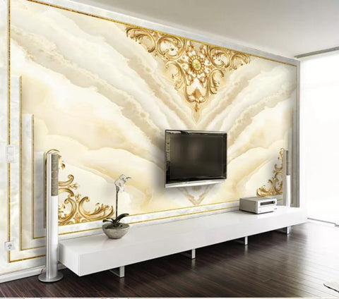 3D Golden Marble Texture Wall Mural Wallpaper 19