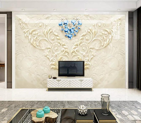 3D Gold Relief Pattern Wall Mural Wallpaper 26