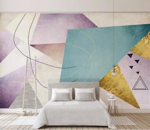 3D Abstract Geometric Triangle Wall Mural Wallpaper 26