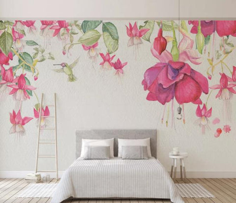 3D Hand Painted Pink Flowers Wall Mural Wallpaper 65
