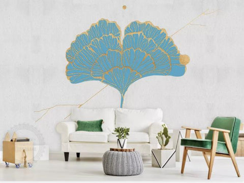 3D Blue Ginkgo Leaf Wall Mural Wallpaper 155