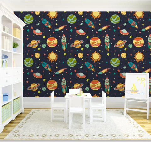 3D Cartoon Space Rocket Wall Mural Wallpaper 189