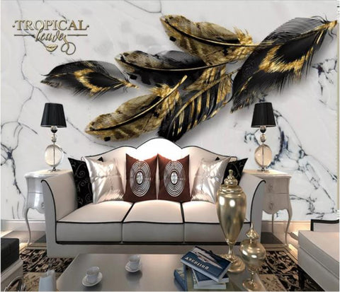 3D Black Feather Marble Wall Mural Wallpaper 217