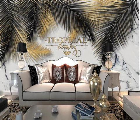 3D Black Feather Marble Wall Mural Wallpaper 222