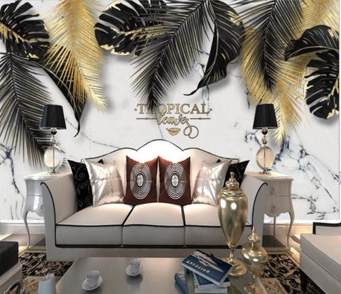 3D Black Feather Marble Wall Mural Wallpaper 223
