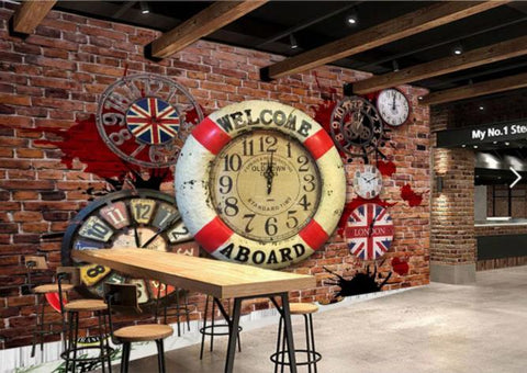 3D Brown Clock Wall Mural Wallpaper 16