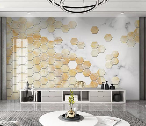 3D Gold Hexagon Wall Mural Wallpaper 35