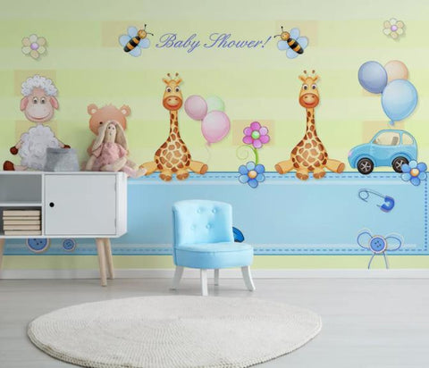 3D Cartoon Animal Yellow Wall Mural Wallpaper 92