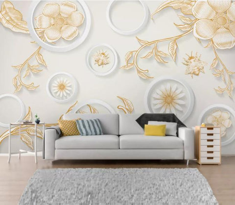 3D Gold Relief Flower Wall Mural Wallpaper 113