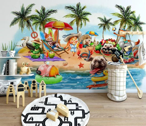 3D Cartoon Beach Animals Wall Mural Wallpaper 179