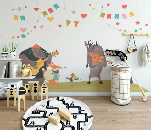 3D Cartoon Animal Party Wall Mural Wallpaper 180