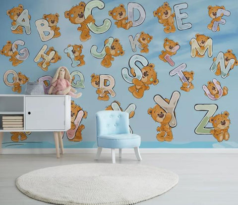 3D Cartoon Bear Letter Wall Mural Wallpaper 226