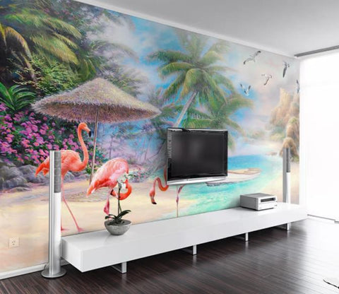 3D Hand Painted Flamingo Coconut Tree Wall Mural Wallpaper 281