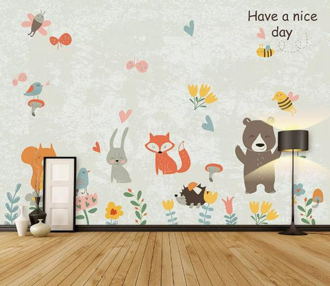 3D Cartoon Animal Flower Wall Mural Wallpaper 15