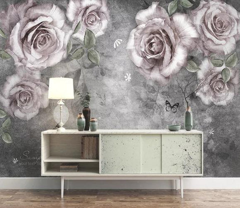 3D Vintage Rose Wall Mural Wallpaper 74