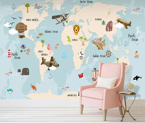 3D Hand Drawn World Map Wall Mural Wallpaper 235