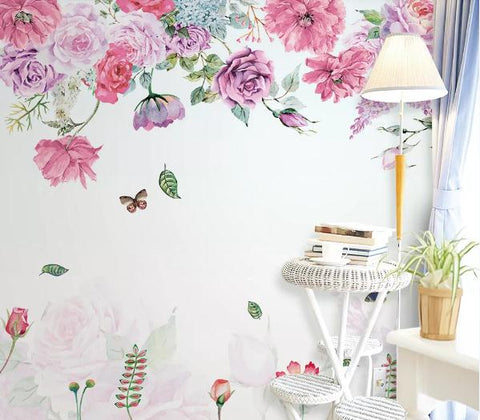 3D Hand Painted Pink Peony Wall Mural Wallpaper 252