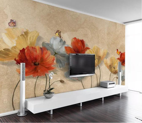 3D Hand Painted Vintage Flowers Wall Mural Wallpaper 55