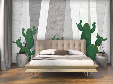 3D Cactus Geometry Wall Mural Wallpaper 216