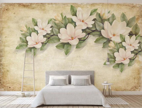 3D Hand Painted Vintage Flowers Wall Mural Wallpaper 39