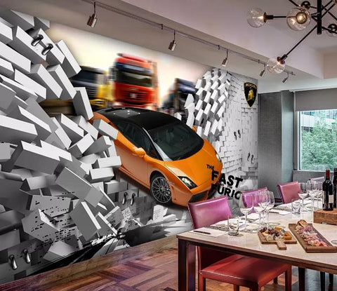 3D Broken Car Brick Wall Mural Wallpaper 132