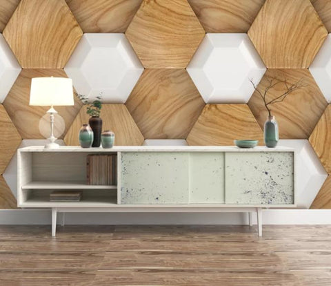 3D Brown Hexagon Wall Mural Wallpaper 94