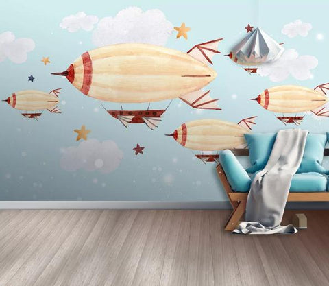 3D Cartoon Blue Sky balloon Wall Mural Wallpaper 24