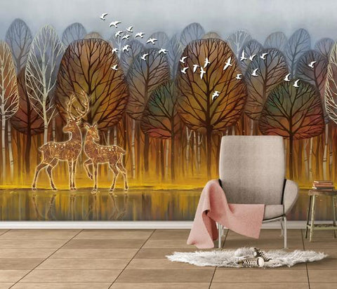 3D Cartoon Brown Forest Elk Wall Mural Wallpaper 148