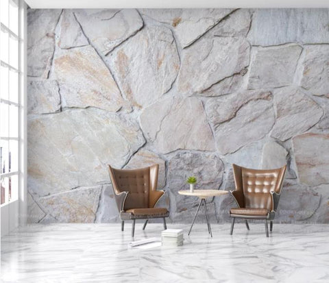 3D Grey Stone Wall Mural Wallpaper 147