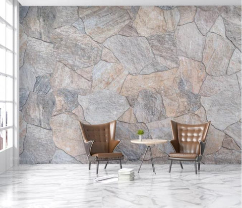 3D Grey Stone Wall Mural Wallpaper 153