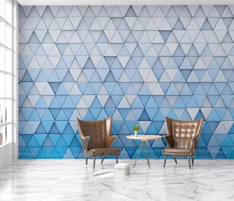 3D Blue Abstract Geometric Pattern Wall Mural Wallpaper 160