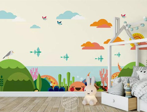 3D Cartoon Sky Sea Tree Wall Mural Wallpaper 169