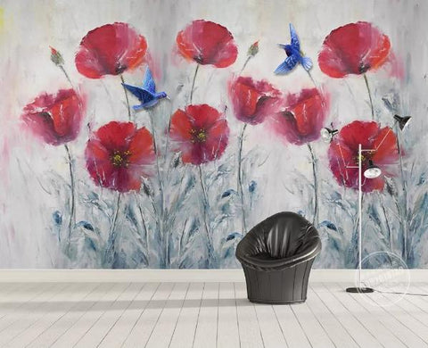 3D Vintage Red Flowers Wall Mural Wallpaper 35