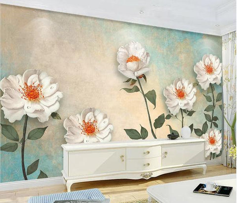 3D Vintage White Flowers Wall Mural Wallpaper 11