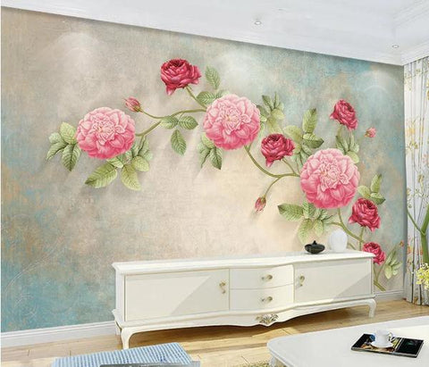 3D Vintage Pink Rose Wall Mural Wallpaper 12