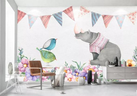 3D Cartoon Elephant Bird Wall Mural Wallpaper 213