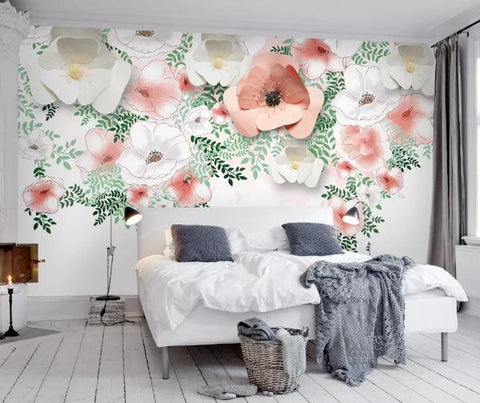 3D Hand Painted Pink White Flowers Wall Mural Wallpaper 140