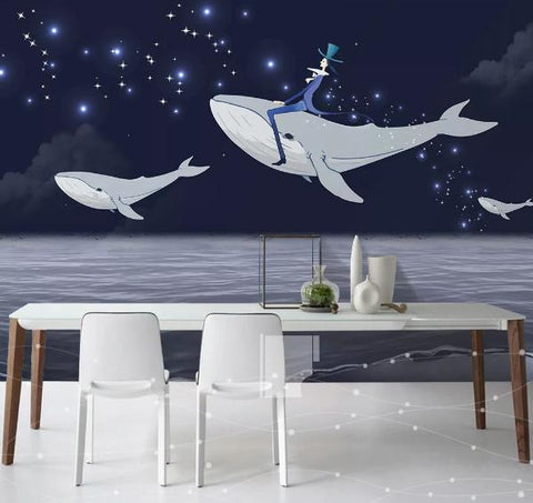 3D Cartoon Star Dolphin Wall Mural Wallpaper 64