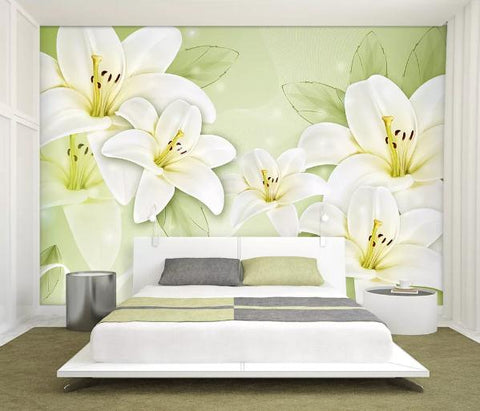 3D White Lily Wall Mural Wallpaper 61